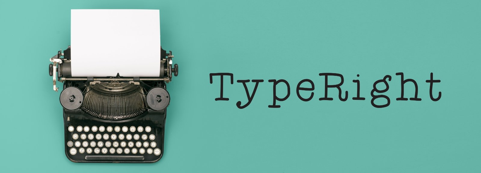 Typewriter next to TypeRight logo